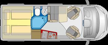 Bild zeigt Fiat Wohnmobile Innenansicht Grundriss